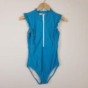 NEW MOTT 50 Zip Front One Piece Swimsuit Ruffled